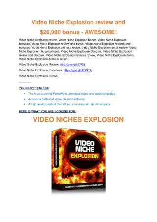 Video Niche Explosion review pro-$15900 bonuses (free)