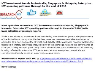 ICT Investment trends in Australia, Singapore & Malaysia; Enterprise ICT spending patterns through to the end of 2016