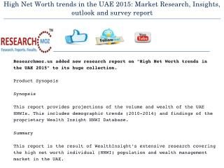 High Net Worth trends in the UAE 2015