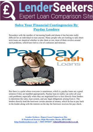 Solve Your    Financial Contingencies By    Payday Lenders