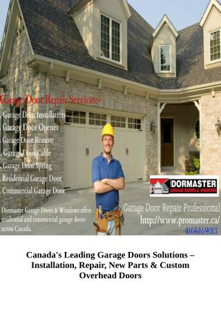 All Type of Garage Door Repair Services in Toronto