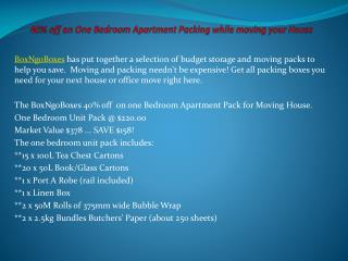 One Bedroom Apartment Packing while moving your House