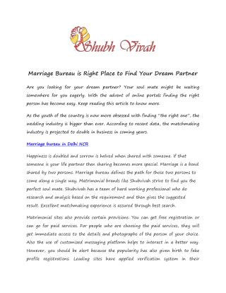 Marriage bureau In east Delhi