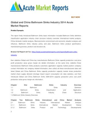 Global and China Bathroom Sinks Industry 2014 Acute Market Reports