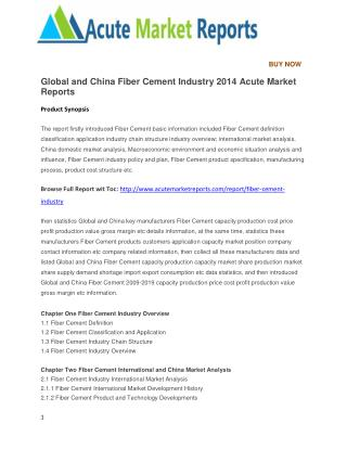 Global and China Fiber Cement Industry 2014 Acute Market Reports