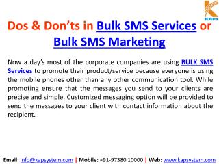 Dos & Don'ts in Bulk SMS Services or Bulk SMS Marketing