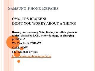 Samsung screen repair service| samsung repair mississauga
