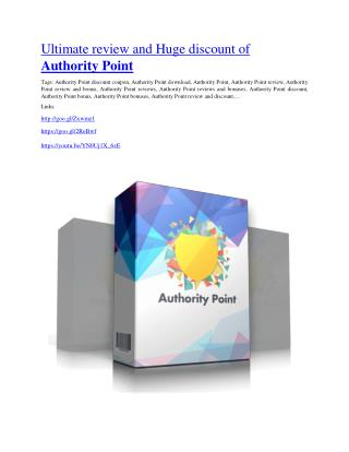 Authority Point review in detail –  Authority Point Massive bonus