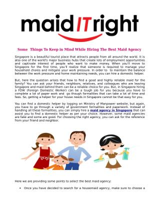 Some Things To Keep in Mind While Hiring The Best Maid Agency