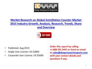 2015 Global Scintillation Counter industry Statistics and Opportunities Report