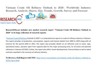 Vietnam Crude Oil Refinery Outlook to 2020– Worldwide Industry Research, Analysis, Shares, Size, Trends, Growth, Survey