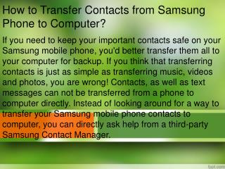 How to Transfer Contacts from Samsung Phone to Computer?