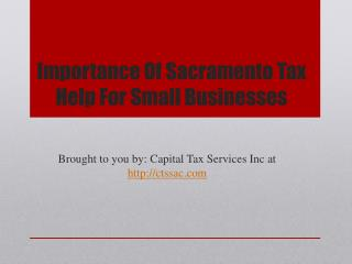 Importance Of Sacramento Tax Help For Small Businesses
