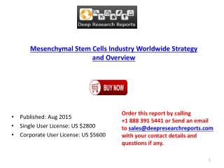 Mesenchymal Stem Cells Industry Worldwide Strategy and Overview