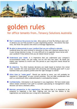 Golden Rules for Office Tenants from…Tenancy Solutions Australia