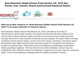 Bronchiectasis Global Clinical Trials Review, H2, 2015
