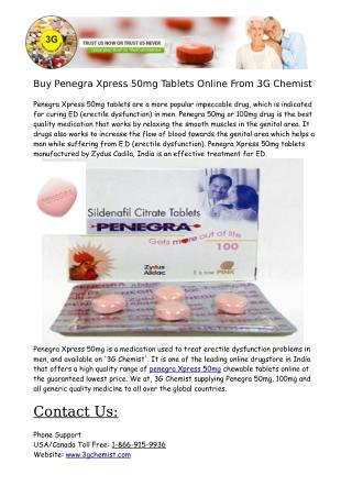 Buy Penegra Xpress 50mg Tablets Online From 3G Chemist