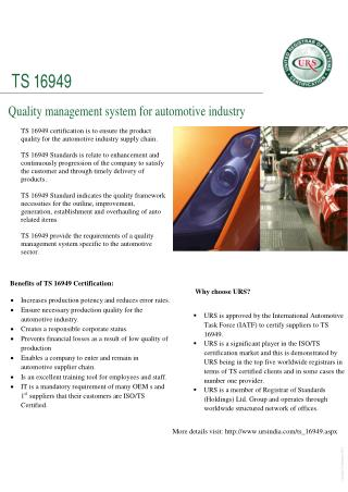 TS 16949 certification by ursindia