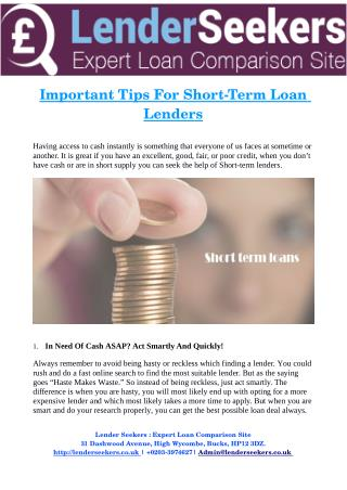 Important Tips For Short­Term Loan Lenders