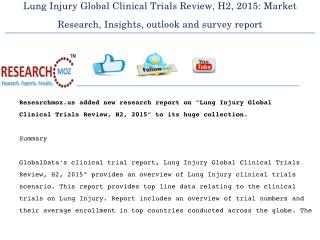 Lung Injury Global Clinical Trials Review, H2, 2015: Market Research, Insights, outlook and survey report