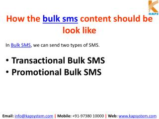 How the bulk SMS Content should be look like
