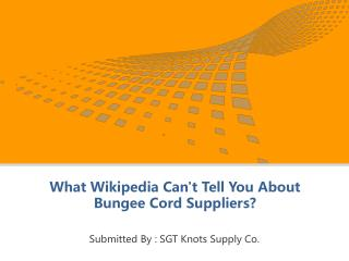 What Wikipedia Can't Tell You About Bungee Cord Suppliers?