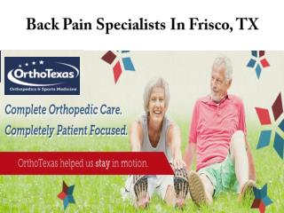 Back Pain Specialists In Frisco, TX