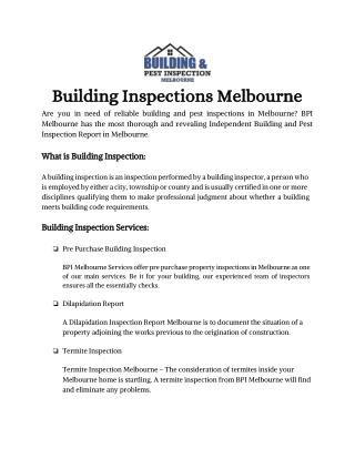 Building And Pest Inspections Melbourne