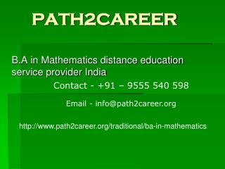 Distance education in B.A in Mathematics UP,Noida  @9555540598