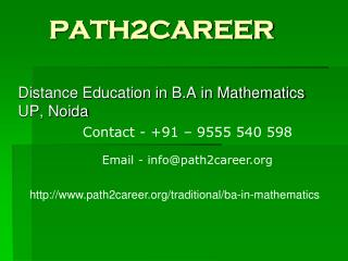 Distance Education in B.A in Mathematics UP,Noida @9278888356