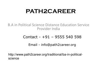 Distance Education Course In B.A In Political Science In Delhi @9278888356