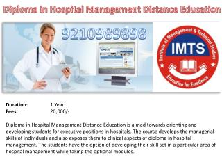 Diploma in Hospital Management Distance Education 9210989898