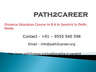 Distance Education Course In B.A In Sanskrit In Delhi, Noida @9278888356