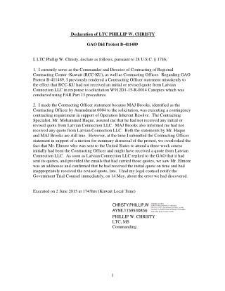 Blog 64 USMC 20150815 W912D1-15-R-0014 ATTCH 3   Tab 2 -   Second KO Statement