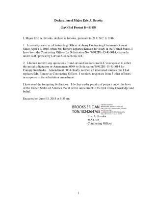 Blog 66 USMC 20150815 W912D1-15-R-0014  ATTCH 5   Tab   17 - Affidavit Of Major Eric  Brooks