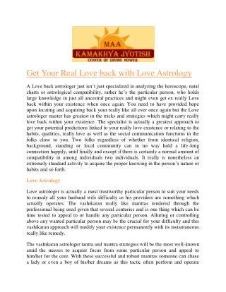 Get Your Real Love back with Love Astrology by N L Swami