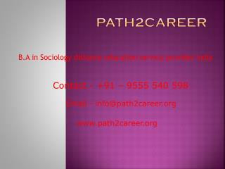 Distance education in B.A in Sociology UP,Noida @9278888356