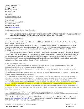 Blog 76 USMC 20150815  GAO PROTEST AGAINST US ARMYs   RFQ W912D1-15-R-0014 FOR VIOLATING FAR 15 206