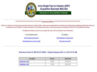 Blog 79  USMC 20150815  Effective 01 October 2015, The Army   Will Sunset Army Single Face To Industry (ASFI)