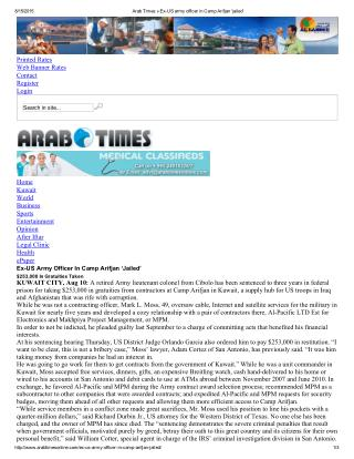 Blog 85 20150817 Arab Times Ex-US Army Officer In Camp   Arifjan Jailed