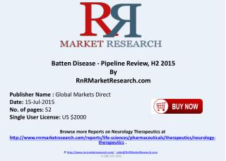 Batten Disease Pipeline Therapeutics Assessment Review H2 2015