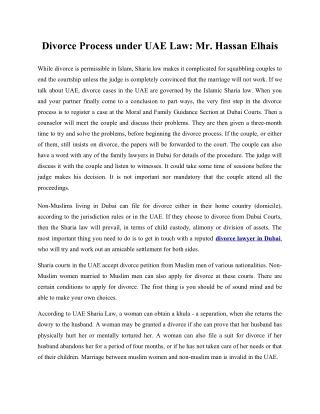 Divorce Process under UAE Law