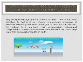Garden Irrigation Cobham can be done by Means of Rainwater Harvesting