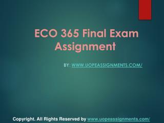 ECO 365 Final Exam Assignment
