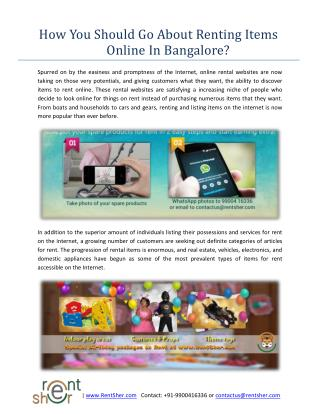How You Should Go About Renting Items Online In Bangalore?
