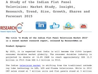 Indian Flat Panel Television: Market Study, Insight, Research, Trend, Size, Growth, Shares and Forecast 2015