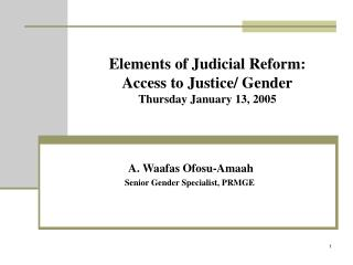 Elements of Judicial Reform:  Access to Justice