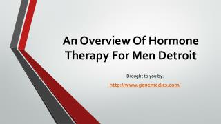 An Overview Of Hormone Therapy For Men Detroit