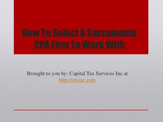How To Select A Sacramento CPA Firm To Work With