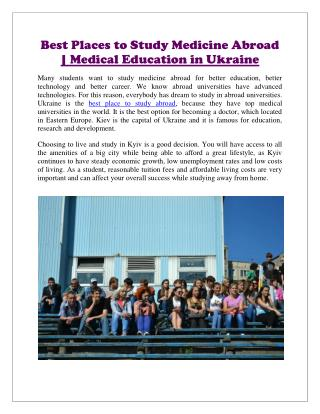 Best Places to Study Medicine Abroad | Medical Education in Ukraine